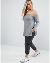 ASOS - Gray Off Shoulder Slouchy Top With Side Splits - Lyst