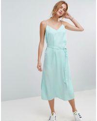ASOS | Green Midi Slip Dress In Satin With Tie Waist | Lyst
