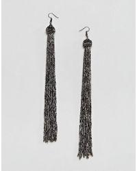 ASOS - Metallic Extra Long Dark Silver Bead Tassel Earrings - Lyst