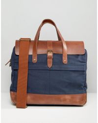 Timberland | Blue Leather Trim Briefcase Navy for Men | Lyst