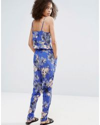 Vero Moda - Blue Printed Jumpsuit With Elasticated Waist - Lyst