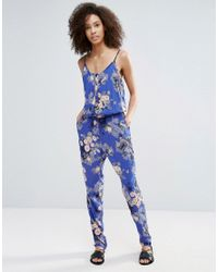 Vero Moda - Blue Printed Jumpsuit With Elasticated Waist - Lyst