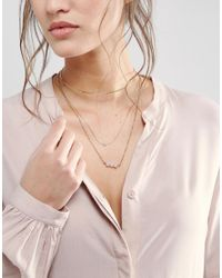 ASOS | Pink Multirow Fine Chain Faux Pearl Choker Necklace | Lyst