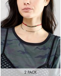 ASOS | Multicolor Pack Of 2 Bar & Chain Choker Necklaces | Lyst