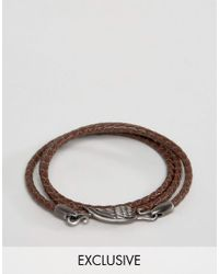 Simon Carter | Brown Leather Wing Wrap Bracelet Exclusive To Asos for Men | Lyst
