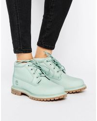 Timberland | Nellie Chukka Double Mint Green Lace Up Flat Boots | Lyst