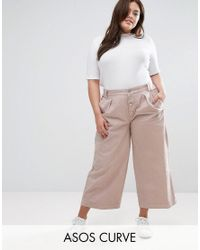 ASOS | Pink Washed Wide Leg Trouser With Button Front | Lyst