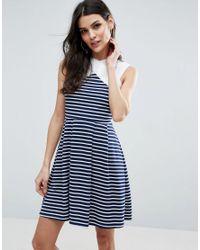ASOS | Blue Stripe Mini Skater Dress With Contrast Neck Detail | Lyst