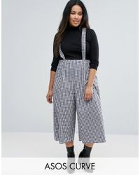 ASOS | Multicolor Culotte Trousers With Straps In Gingham Check | Lyst