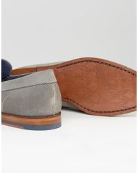 Ted Baker - Gray Dougge Suede Tassel Loafers for Men - Lyst