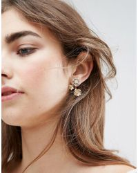 ASOS - Metallic Daisy Swing Earrings - Lyst