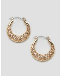 ASOS | Metallic Engraved Hoop Earrings | Lyst
