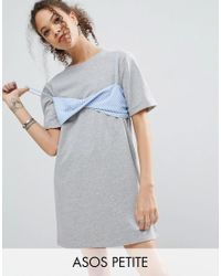 ASOS | Gray T-shirt Dress With Contrast Stripe Bra | Lyst
