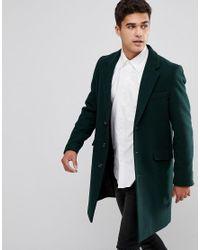 ASOS - Wool Mix Overcoat In Bottle Green for Men - Lyst