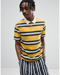 ASOS - Relaxed Rugby Polo Shirt In Yellow Retro Stripe for Men - Lyst