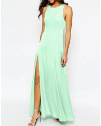 Fame & Partners - Blue Asleigh Maxi Dress With Open Back And Side Splits - Lyst