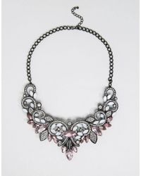 Pieces | Metallic Fazzy Statement Necklace | Lyst