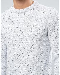 Reiss - White Sweater In Salt And Pepper Texture for Men - Lyst