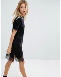ASOS | Black T-shirt Dress With Lace Inserts | Lyst