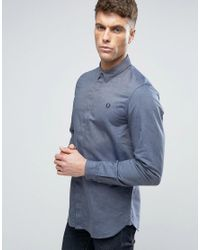 Fred Perry | Blue Slim Shirt Concealed Placket In Navy for Men | Lyst