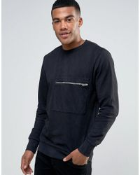 DIESEL | Black S-achille Washed Out Sweater Zip Pocket for Men | Lyst