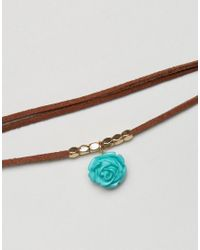 ASOS - Brown Festival Flower Wrapped Cord Choker Necklace - Lyst