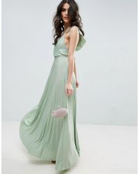 ASOS - Green Ruffle Cross Back Pleated Maxi Dress - Lyst