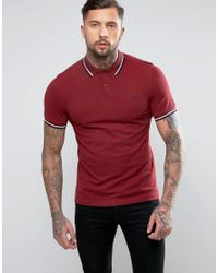 Fred Perry | Red Slim Pique Polo Shirt Twin Tipped In Blood Oxford for Men | Lyst