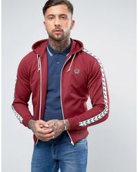 Fred Perry | Sports Authentic Hooded Track Jacket In Red for Men | Lyst