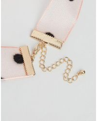ASOS - Pink Spotty Choker Necklace - Lyst