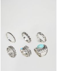 ASOS | Metallic Festival Stone Ring Pack | Lyst