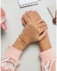 ASOS - Metallic Rope Bow Cuff Bracelet - Lyst