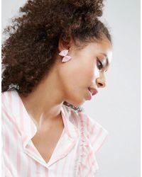 ASOS - Pink Pasta Bow Earrings - Lyst