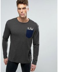G-Star RAW | Gray Beraw Qane Regular Pocket Long Sleeve Top for Men | Lyst