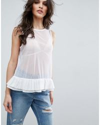 ASOS   White Top In Mesh With Corset Back And Organza Ties   Lyst