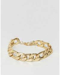 ASOS - Metallic Gold Plated Heavyweight Chain Bracelet for Men - Lyst