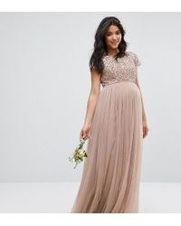 67ad2a16 Maya Maternity. Women's Gray Maxi Dress With Delicate Sequin And Tulle Skirt
