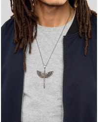 Seven London - Metallic Seven Sword & Wings Pendant Necklace In Silver Exclusive To Asos for Men - Lyst