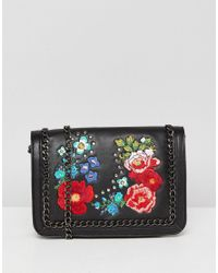 ASOS - Black Floral Embroidered Chain Cross Body - Lyst