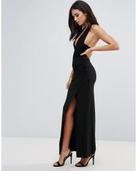 Love | Black Halter Neck Maxi Dress With Split Detail | Lyst