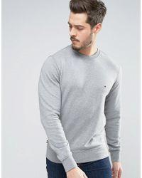 Tommy Hilfiger | Gray Crew Sweatshirt Flag Logo In Grey Marl for Men | Lyst