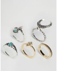 ASOS | Multicolor Pack Of 5 Crescent Moon Ring Pack | Lyst