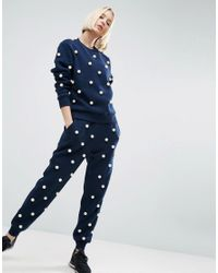 ASOS - Blue Pearl Embellished Sweater - Lyst