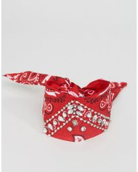 ASOS - Red Embellished Multiway Bandana Choker & Bracelet - Lyst