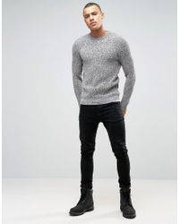 New Look | Fisherman Sweater In Gray With Twisted Crew Neck for Men | Lyst
