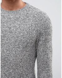 New Look - Fisherman Sweater In Gray With Twisted Crew Neck for Men - Lyst