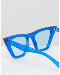 ASOS DESIGN - Blue Asos Cat Eye Fashion Sunglasses With Square Frame - Lyst