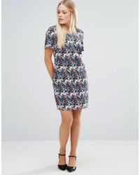 Girls On Film - Blue Floral Shift Dress With V-neck Back - Lyst