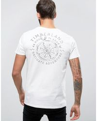 Timberland | Back Compass Logo T-shirt Regular Fit In White for Men | Lyst