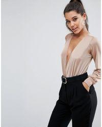 Lipsy - Pink Plunge Slinky Long Sleeve Bodysuit - Lyst